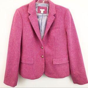 J. Crew Pink Herringbone Blazer